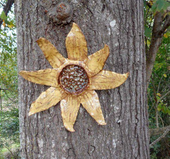 Ceramic sunflower outdoor garden art, pottery sculpture wall art