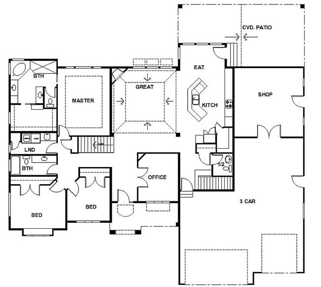 Rambler house plans with basements panowa home plan for One story ranch style home floor plans