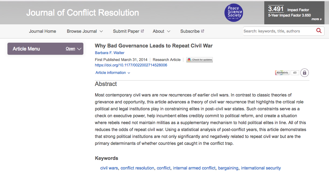 Why Bad Governance Leads To Repeat Civil War Barbara F Walter
