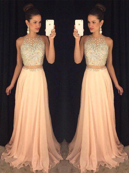 Halter Two Piece Prom Dresses, Formal Dresses, Graduation Party ...