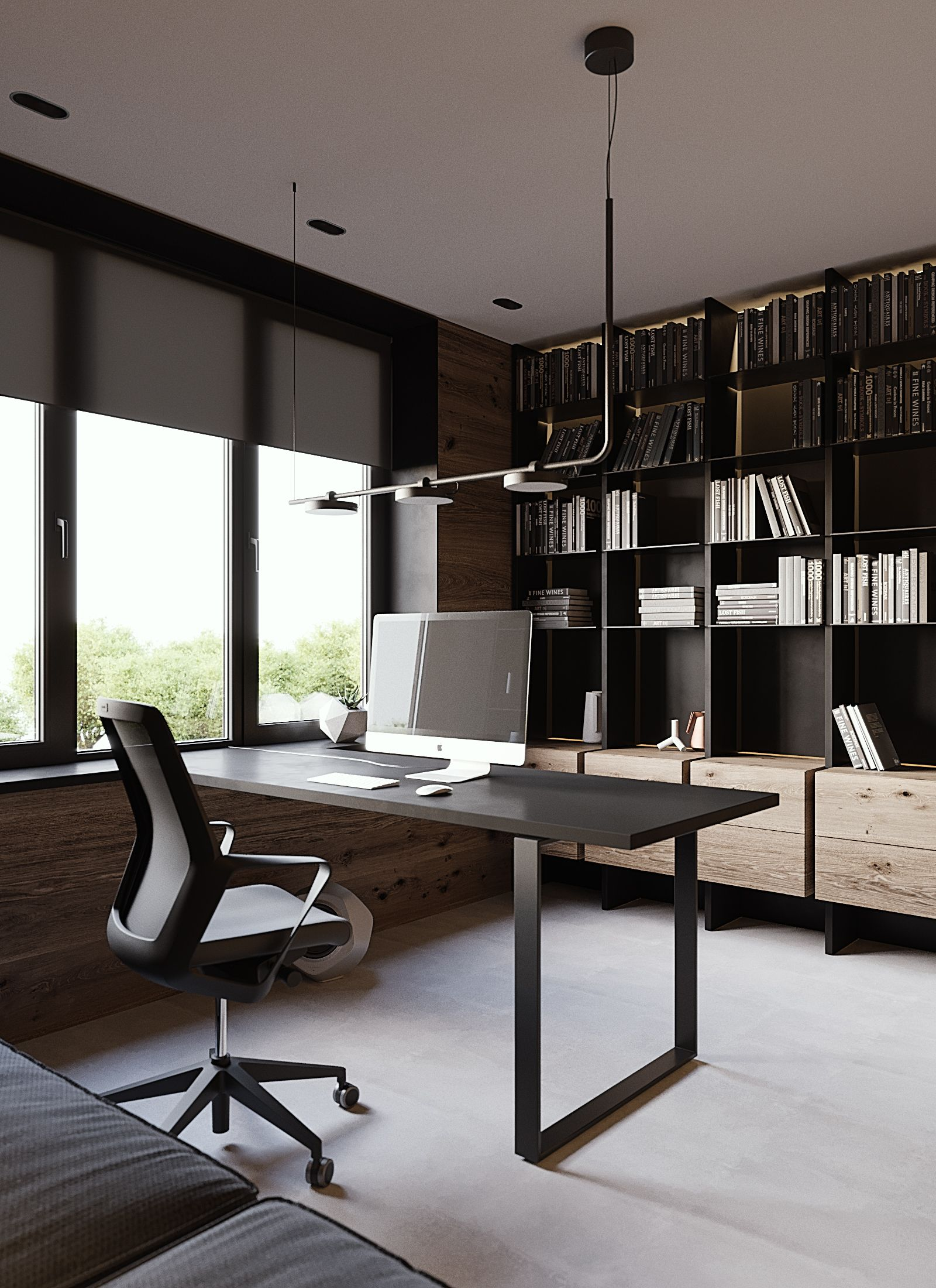 Home Office White Black Wood Greey