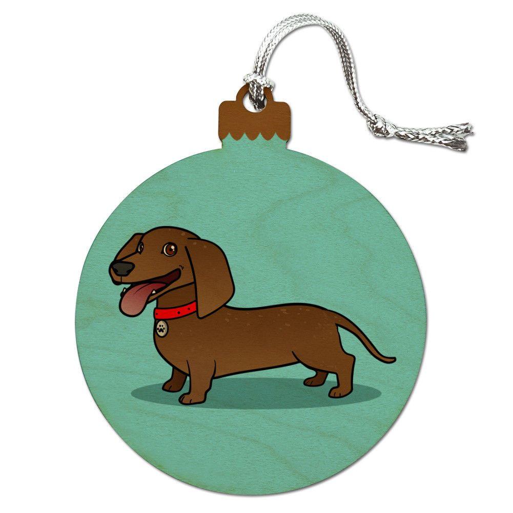 Dachshund Wiener Dog Cartoon Wood Christmas Tree Holiday Ornament