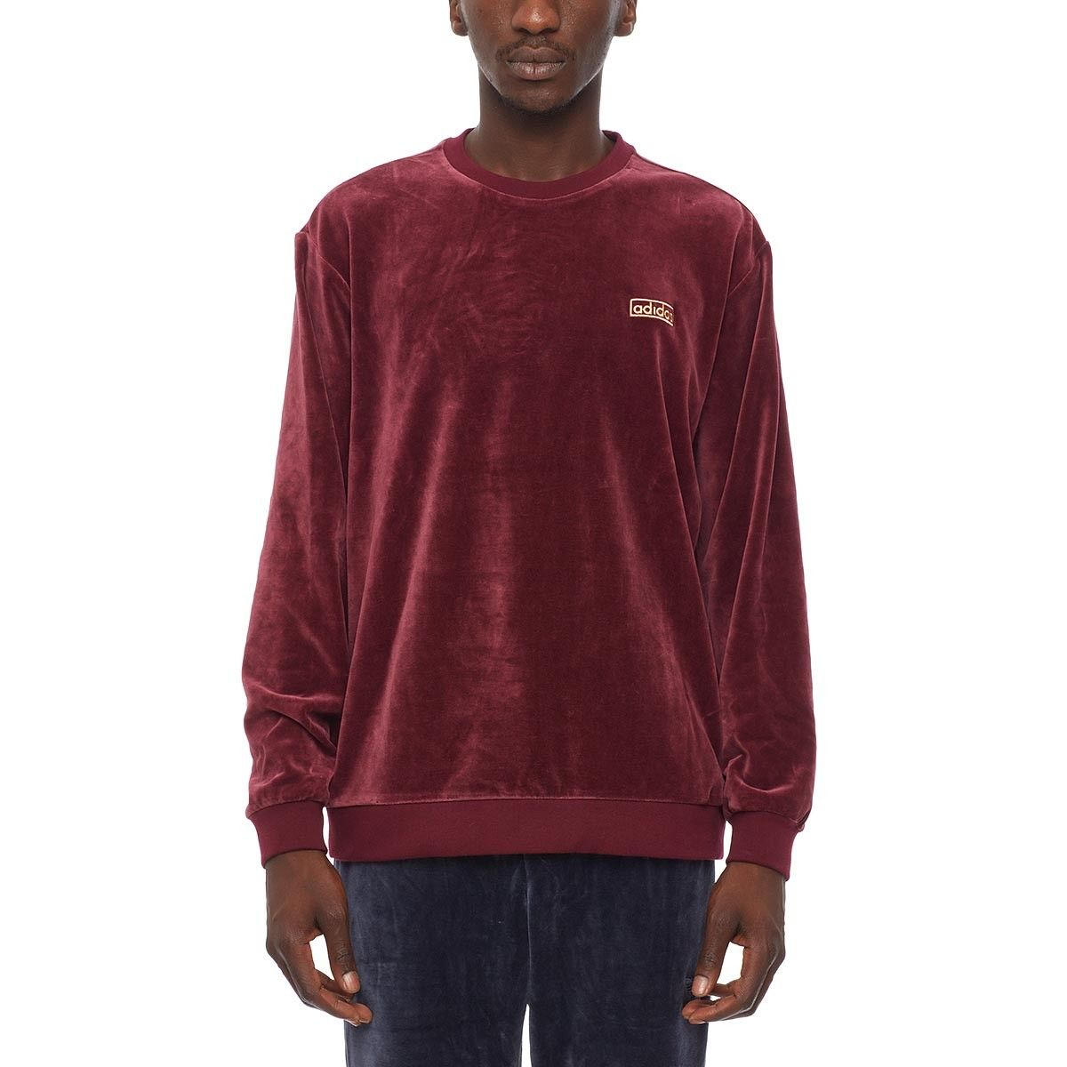 347a75aa0be56 Velour crew sweatshirt from the F W2016-17 Adidas Originals collection in  maroon