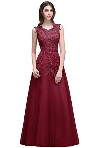 332ebdf0840 Sexy Sleeveless Lace Appliques Burgundy Prom Dresses Long... https   www