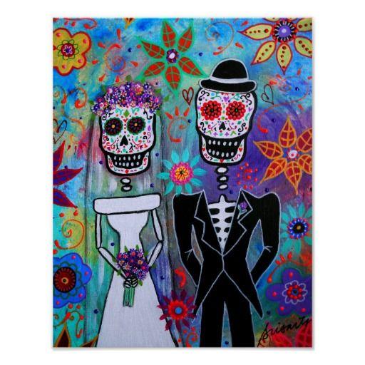 Dia de los Muertos Wedding Poster  #wedding # couple #lovers #eternal #love #beachwedding #diadelosmuertos #dayofthedead #prisarts #latinart #mexican
