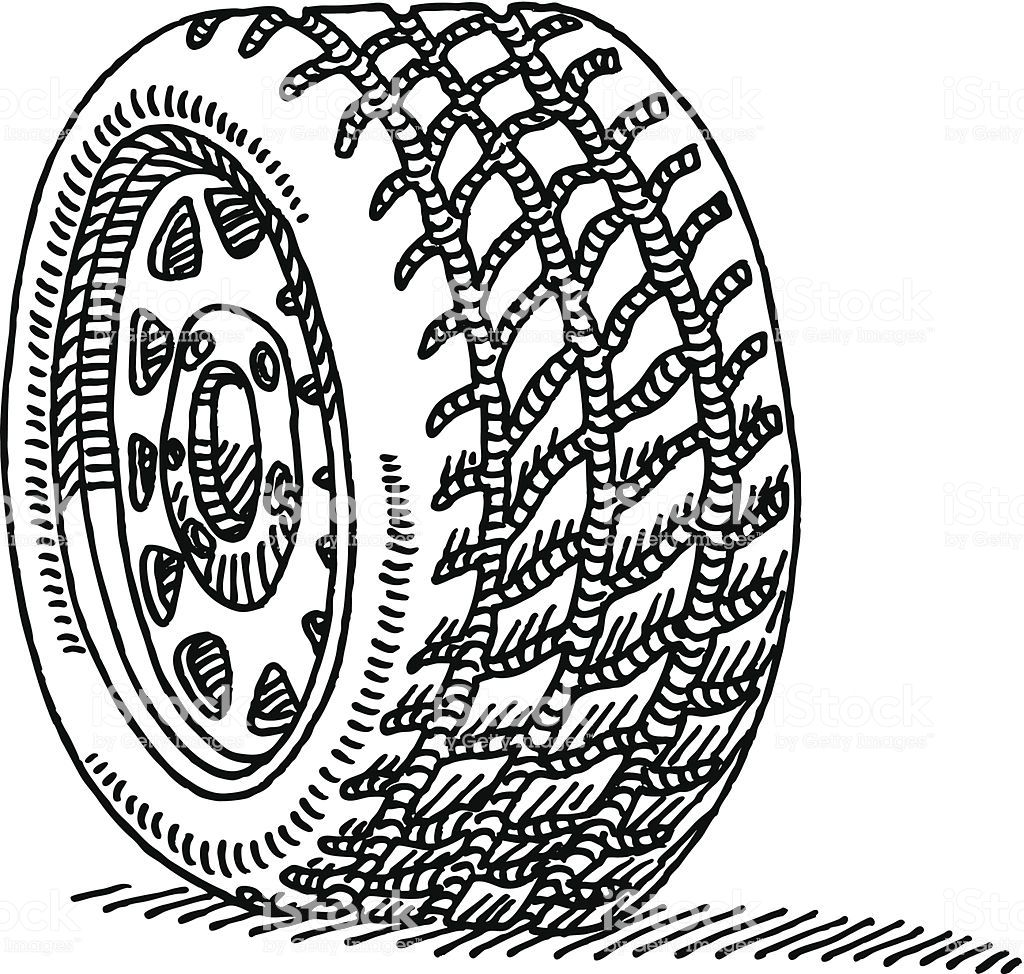 Hand Drawn Vector Drawing Of A Car Wheel Black And White