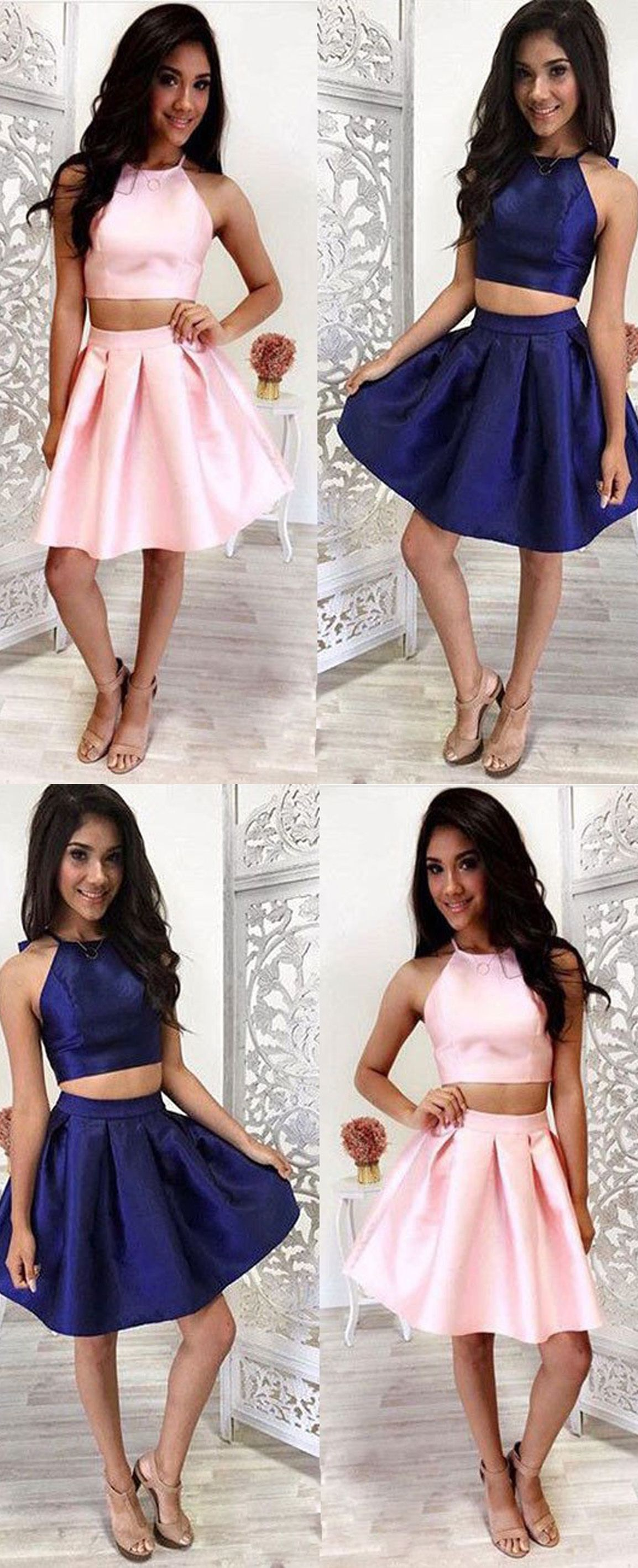 Two Piece Halter Sleeveless Pink Satin Homecoming Dress With Ruched ...