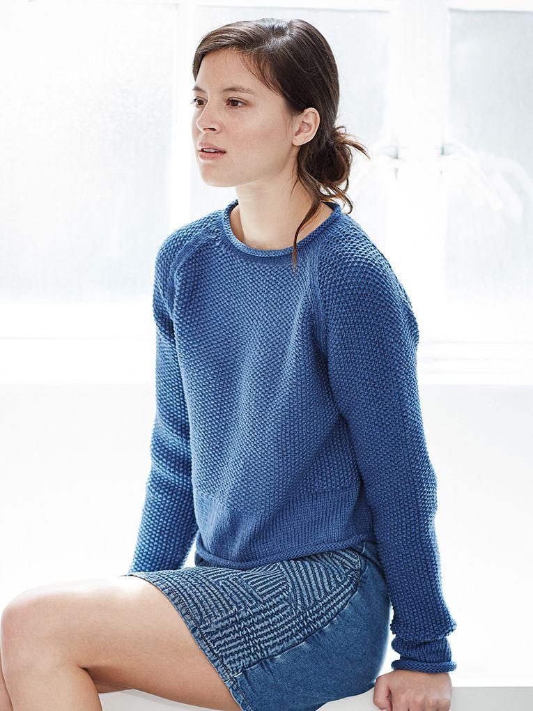 Moss Stitch Jumper Knitting Pattern : Ianthe - Knit this womans moss stitch jumper from Rowan Knitting & Croche...