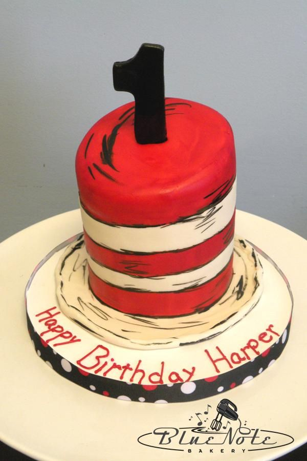 cat in the hat smash cake dr suess 1st birthday Blue Note
