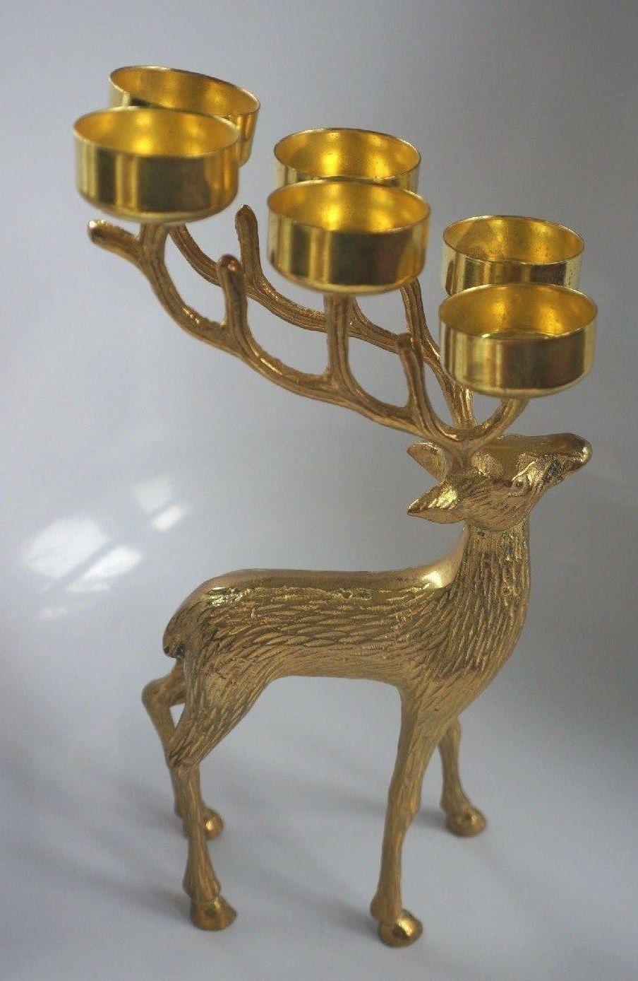 Lovely Christmas Brass Reindeer Tea Light Holder Holds Six Tea Lights Ebay Tea Lights Tea Light Holder Vase Candle Holder