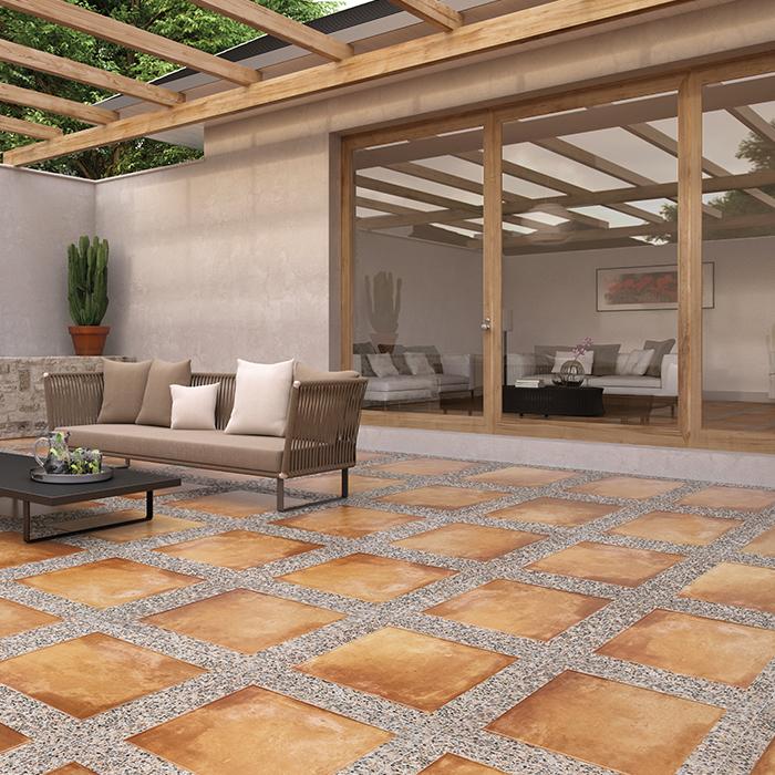 Piso taipei tipo r stico de 60 x 60 cm caja con m2 en for Decoracion jardines exteriores rusticos