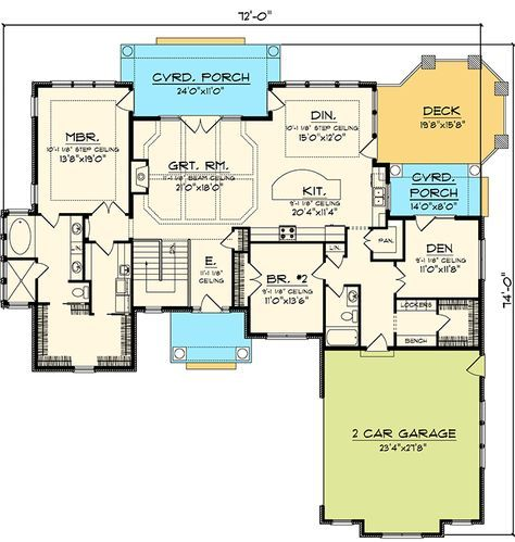 bedroom hip roof ranch home plan ah st floor master suite butler also pantry and rh pinterest
