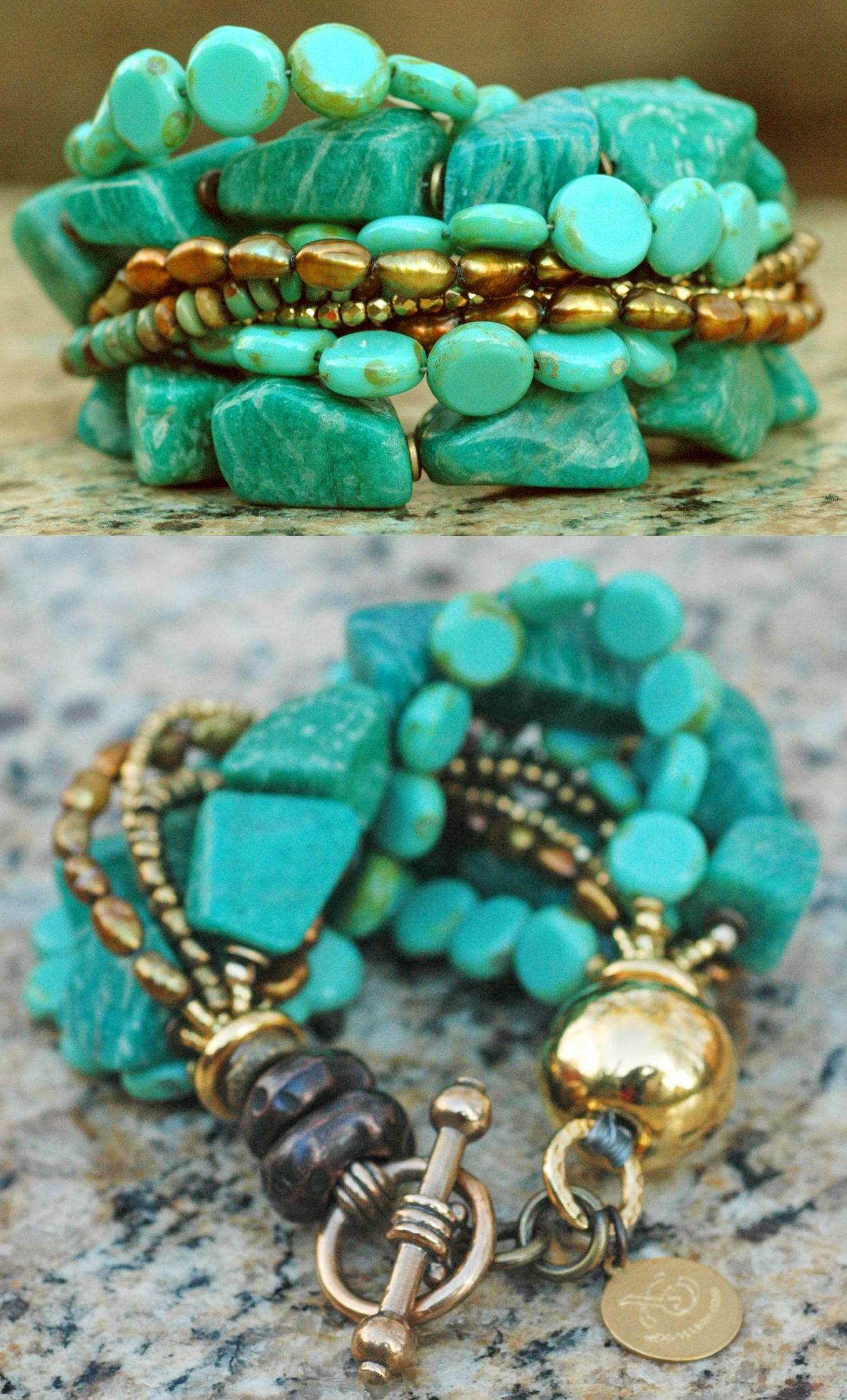 Russian amazonite teal mint aqua gold u bronze statement