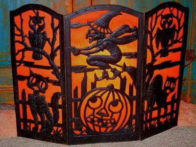 1920s decorative halloween cardboard fireplace screen vintage halloween - Halloween Fireplace