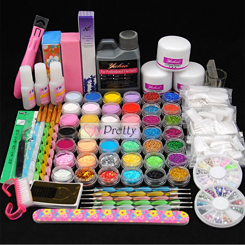 42pc Acrylic Powder Liquid Jumbo Liquid Nail Art Tips Brush Glue Tools Sets Kits Unbranded Nail Art Hacks Acrylic Nail Kit Nail Art Kit