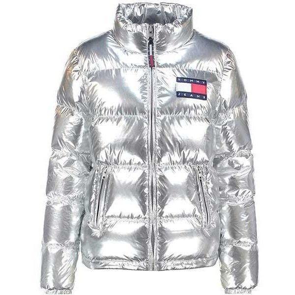 tommy hilfiger silver down puffer jacket via polyvore. Black Bedroom Furniture Sets. Home Design Ideas