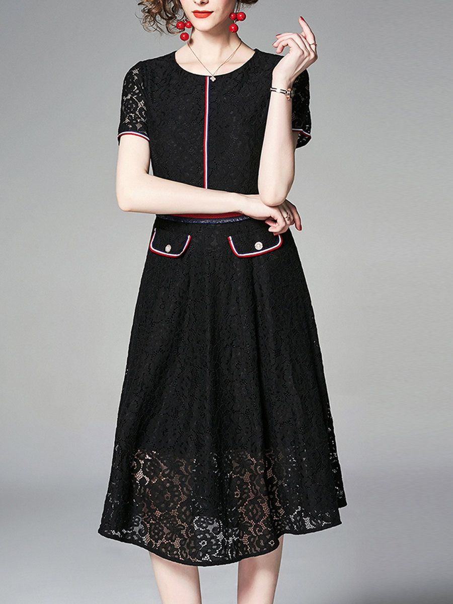 7a58d56fe8a Stylewe Formal Dresses Sundress Daily A-Line Crew Neck Pockets Short Sleeve  Elegant Dresses