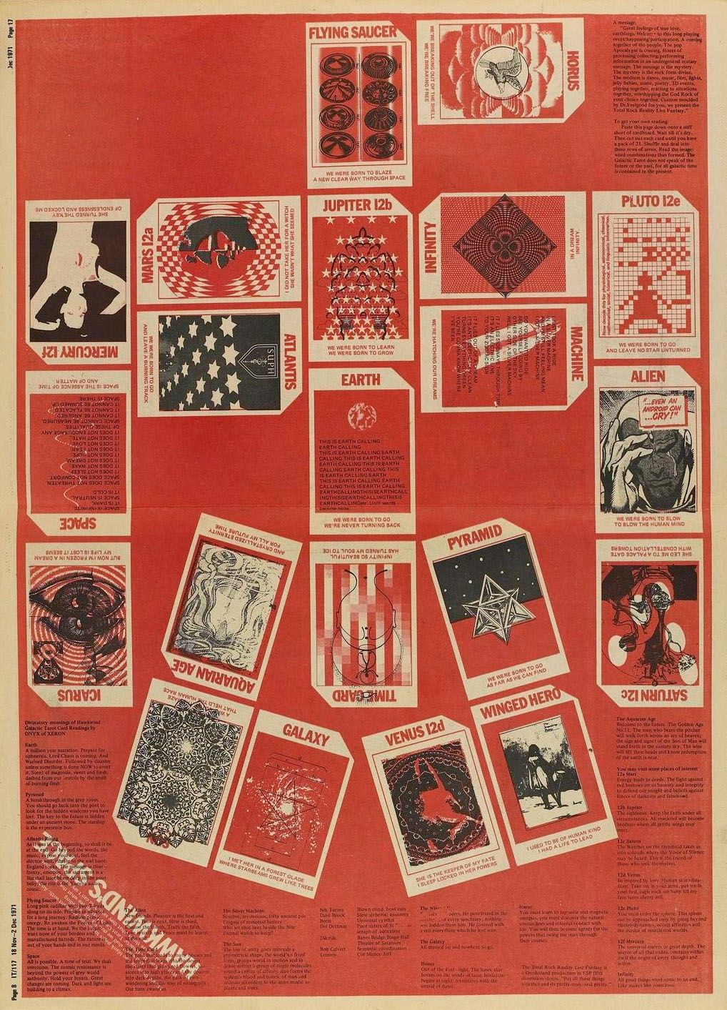 Hawkwind's Space tarot, taken from International Times, 1971 Possibly designed by Barney Bubbles
