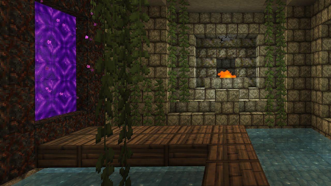 Nether Portal Room Minecraft Room Minecraft Survival Minecraft Underground