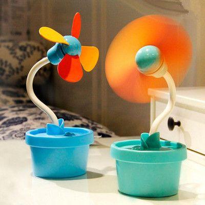 Lovely office flowerpot usb charging mini fan