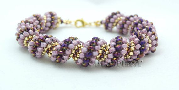 Pink/Purple/Gold Cellini  spiral bracelet by manafa2000 on Etsy