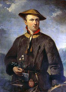 Carolus Linnaeus, beroemd portret door Hendrik Hollander, gemaakt in 1853, de jonge Linnaeus in laplandkostuum voorstellend.