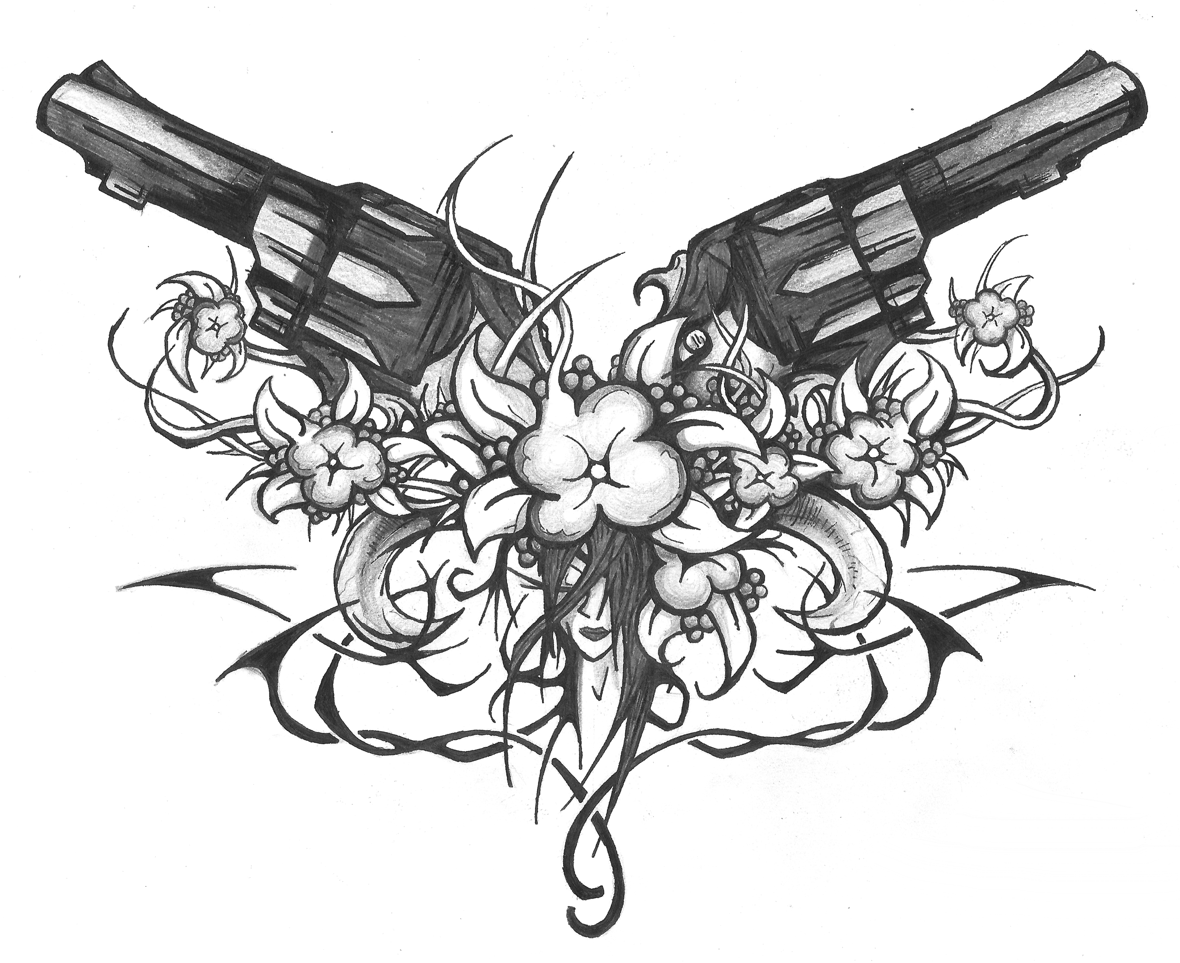 Skulls And Guns Tattoos: Guns Flowers Tribes And Face By