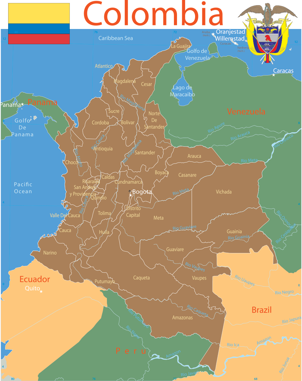 Colombia Map With Cities Colombia Map with cities   blank outline map of Colombia
