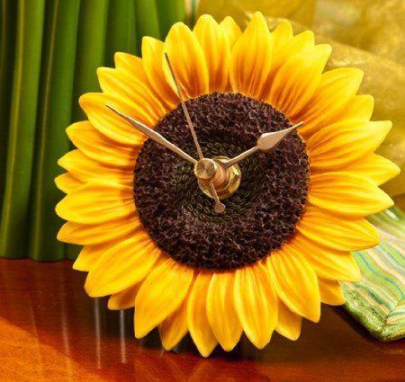 Amazon.com: Sunflower Clock   Hand Painted Flower Clock By Ibis U0026 Orchid  Designs