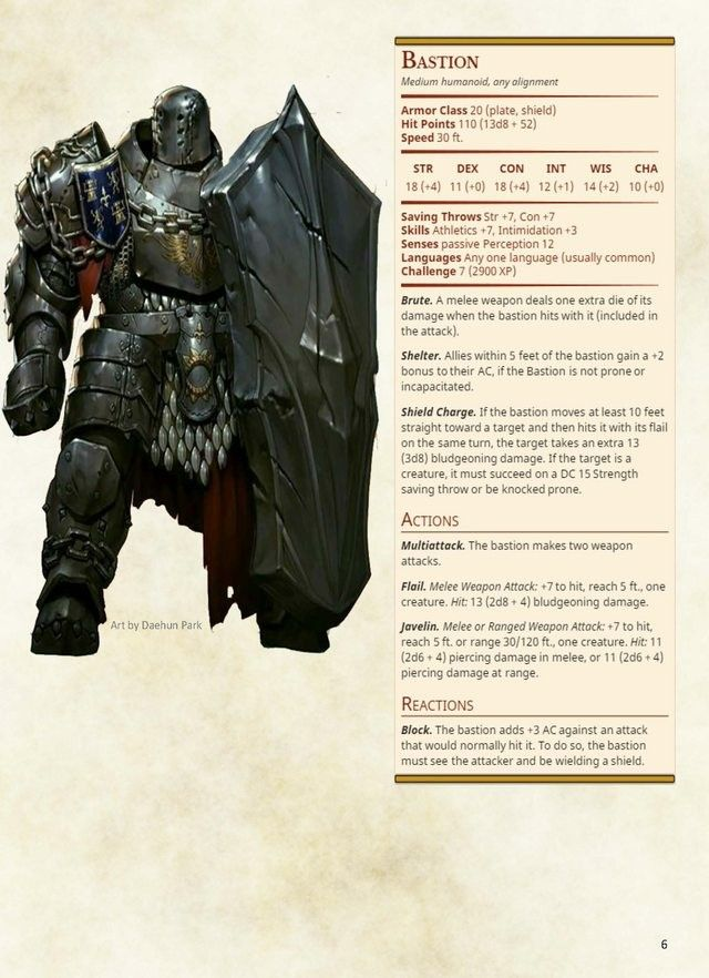 Evil knight defender stats CP 7  Guard | monsters of DnD in 2019