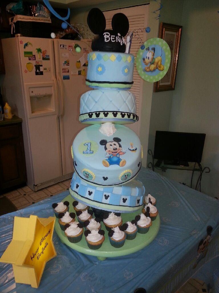 Baby mickey cake, boy first birthday, baby shower