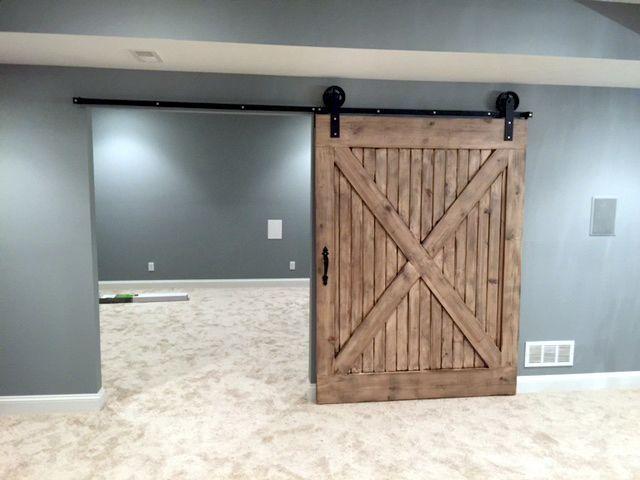 JUMBO Wheel Sliding Flat Track Barn Door Hardware Kit with 8 feet