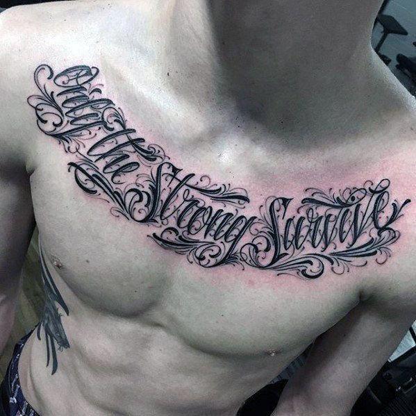 Top 41 Chest Writing Tattoo Ideas 2020 Inspiration Guide Tatuirovki Tatuirovka Spiny Tatu