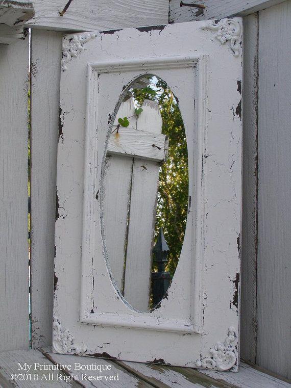 SHABBY CHIC MIRROR, Cottage Wedding Sign, Cottage Decor, 24 x 14, Elegant Mirror, Distressed Mirror