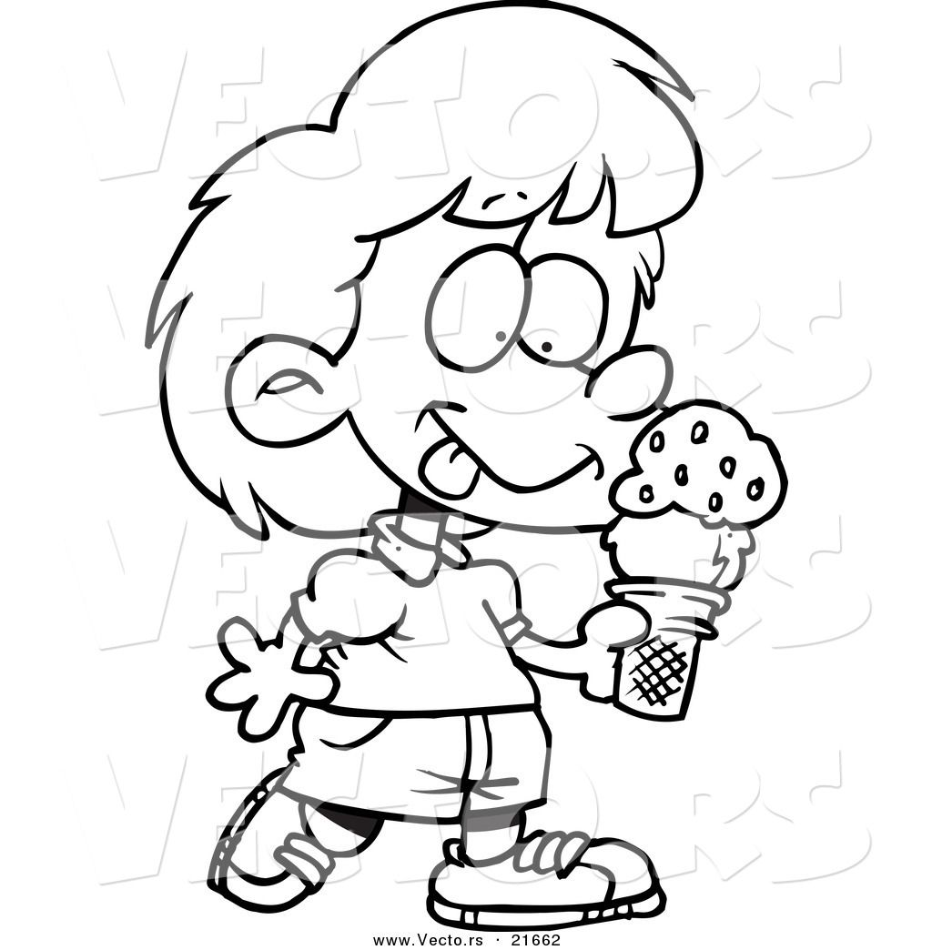 Free coloring pages ice cream sundae - Girl Ice Cream Coloring Pages Printable Coloring Book Ice Cream