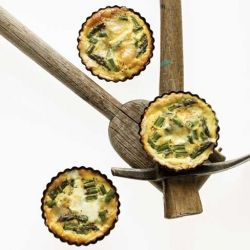 A beautiful cheese, asparagus, and egg tart that'll go perfectly with a class of Burgundy!