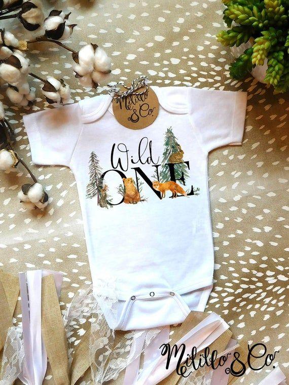 Cute Baby Onesie®,Baby Boy Clothes,Baby Birthday Outfit,Wild One,Fox Baby Onesie,Woodland Birthday,Toddler Birthday,Woodland Baby Onesie #babyboybirthday