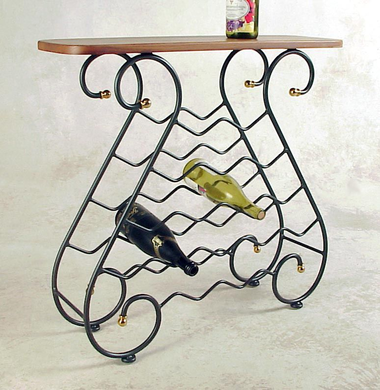 16 Bottle Wine Wrought Iron Wine Rack With Wood Top Wrought Iron