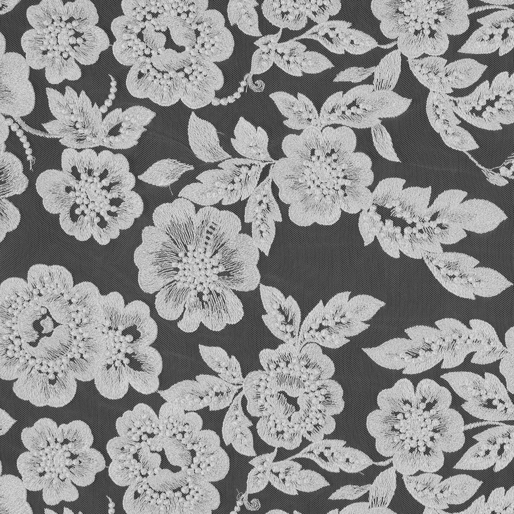 White on White Floral Embroidered Lace