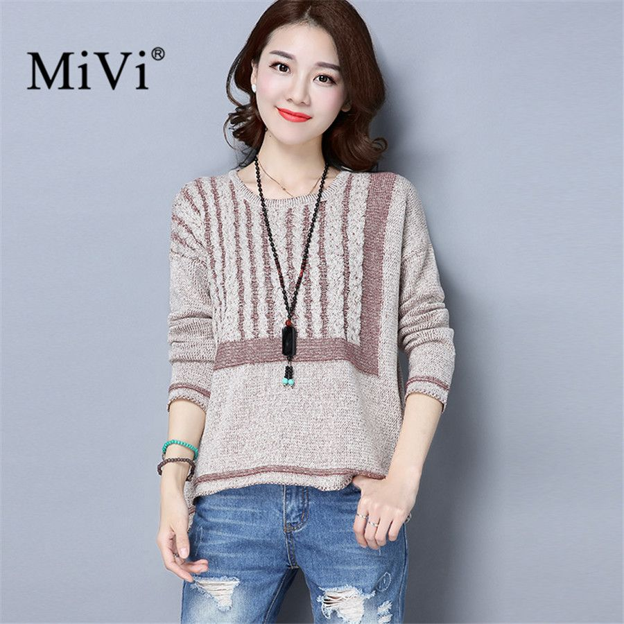 MIVI Brand Warm Knitted Striped Sweater Women Soft Casual Long ...