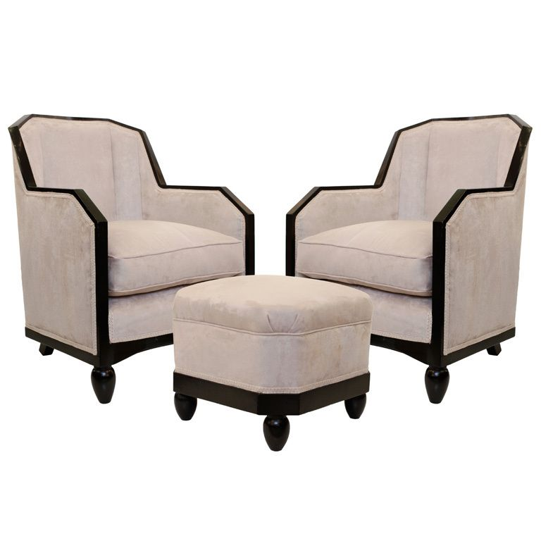 Art Deco Armchairs with Footstool in the Style of Pierre ...