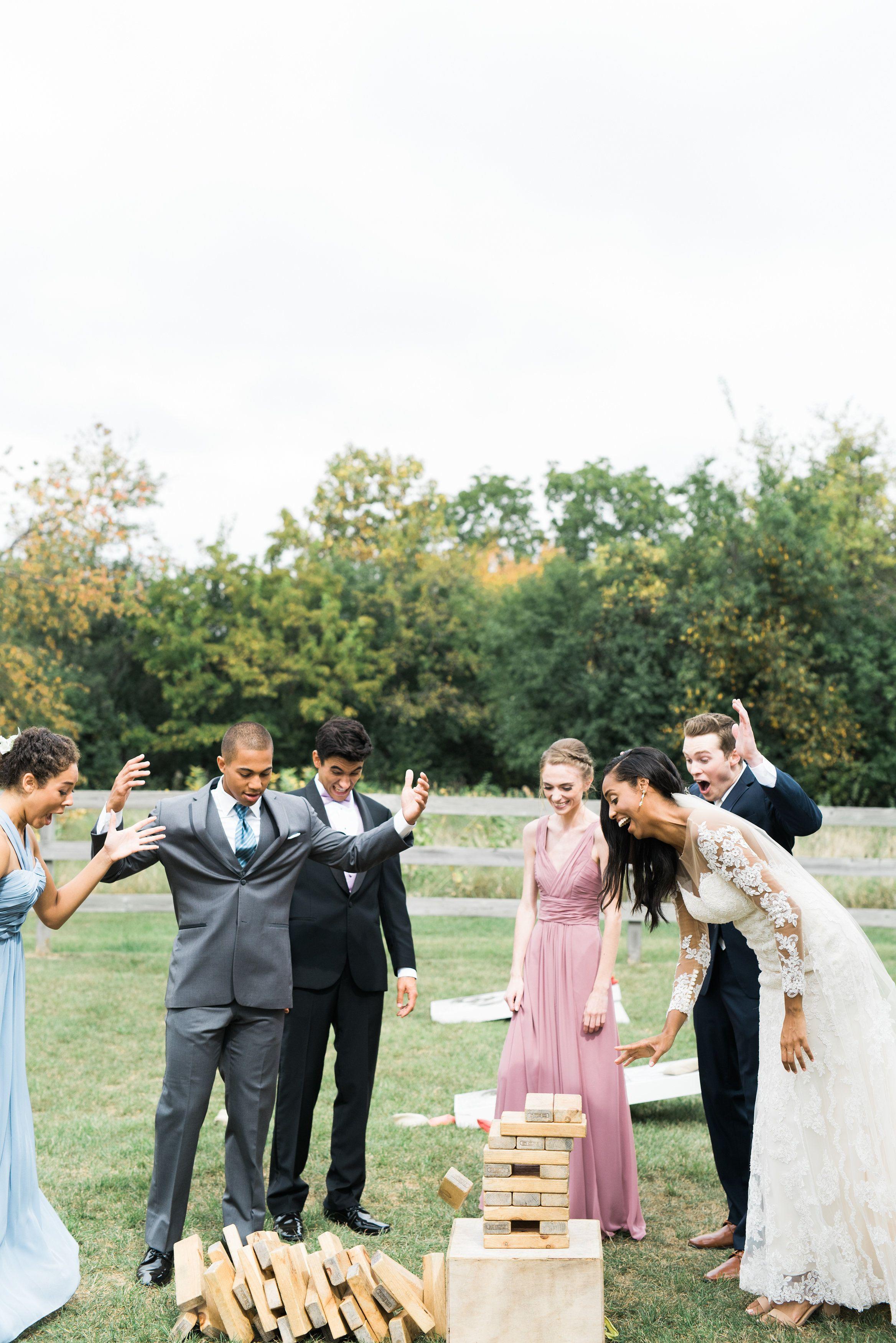 Wedding games giant jenga Wisconsin wedding barn (With