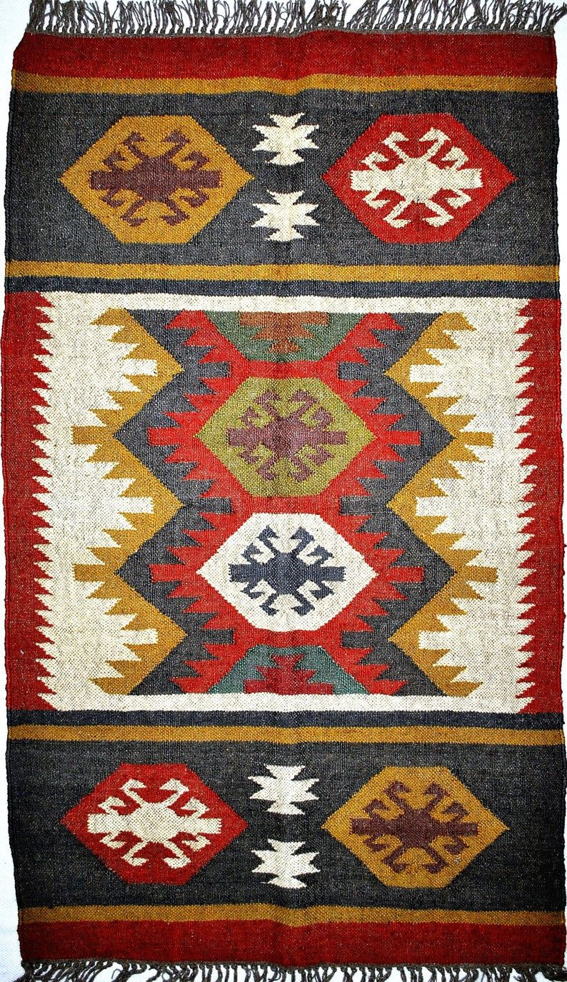 Indian Wool Jute Handwoven Kilim Floor Covering Durry Rug Home Decor Living Room Indian Turkish Oriental Traditional 3 X 5 Feet Royalethnic Durrie Rug Red Wool Area Rug Kilim Woven
