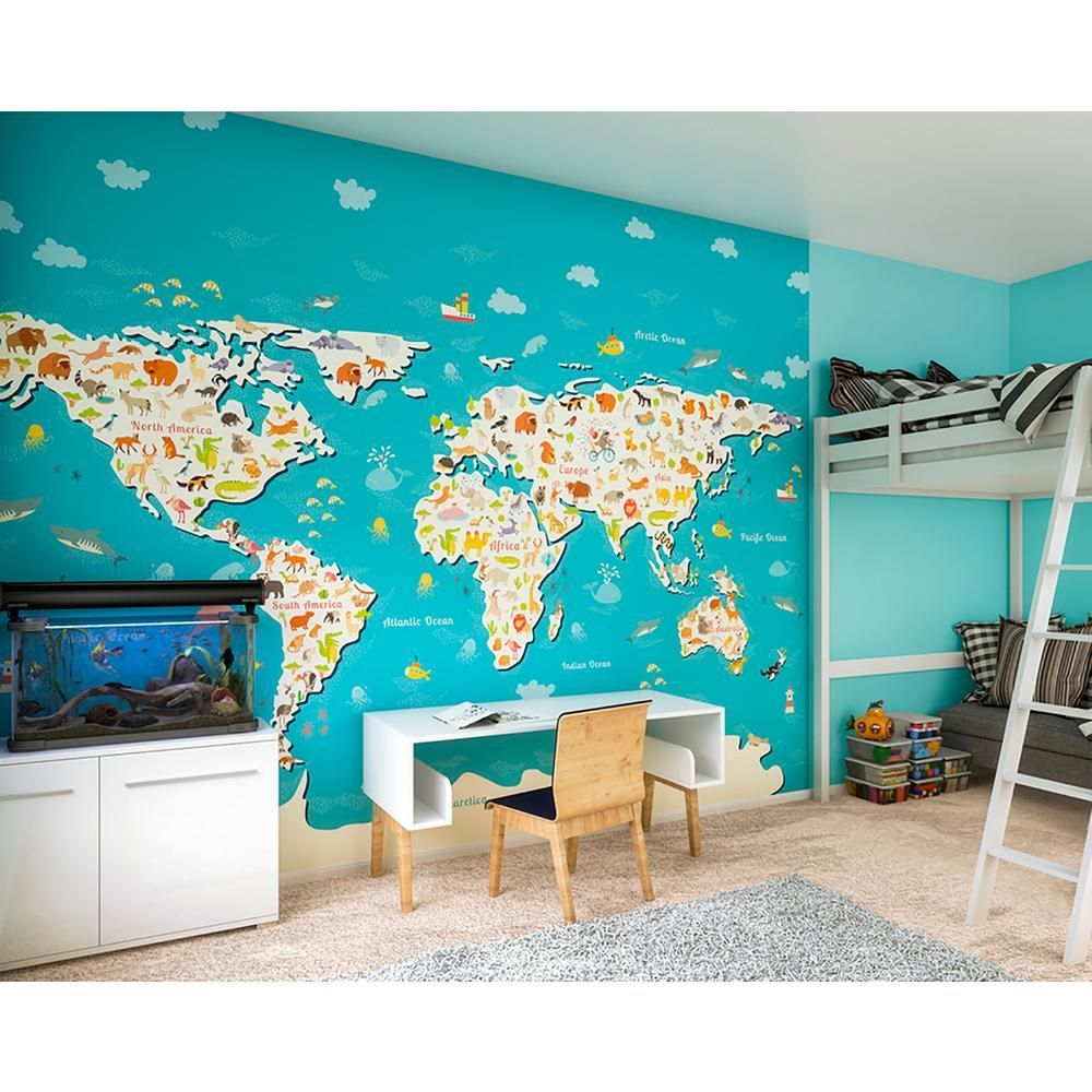 OhPopsi Animals Of The World Map Wall Mural WALS0340 Map