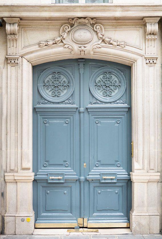 Paris Photography Paris Blue Door Number 47 Travel Photograph Paris Architectural Fine Art Print French Home Decor Paris Door Blue Door Paris Photography