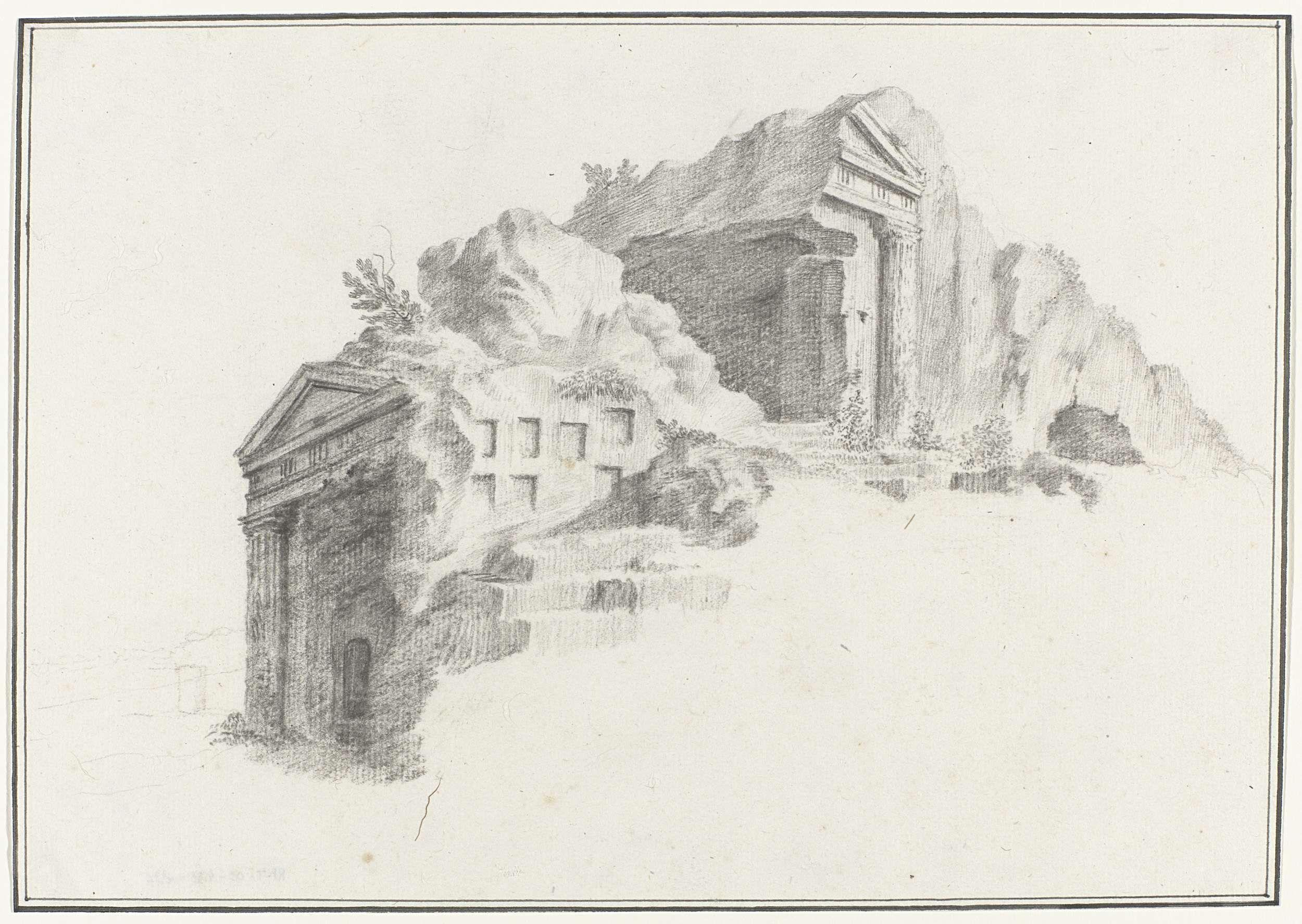 Louis Mayer   Grafmonument of graven met Dorische zuilen in rots gehouwen en gelegen op afstand van 2 mijl van Syracuse, Louis Mayer, 1778   Tekening uit het album 'Voyage en Italie, en Sicile et à Malte', 1778.