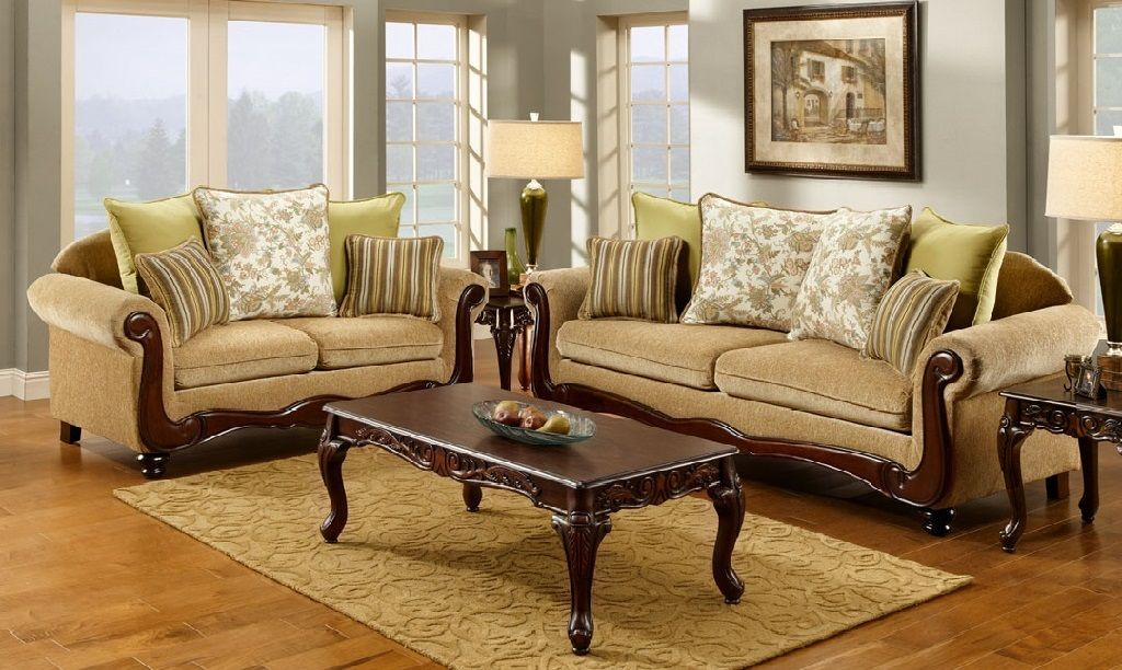 Carved Wood Trim Sofas Couches Sofa Set Traditional Living