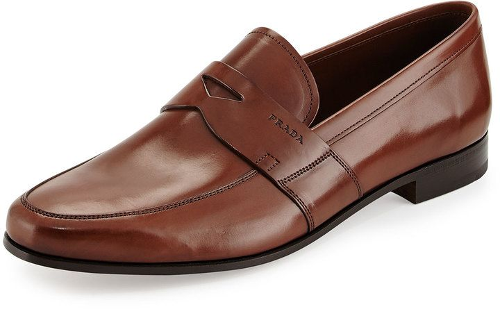 Prada Smooth-Leather Penny Loafer, Light Brown