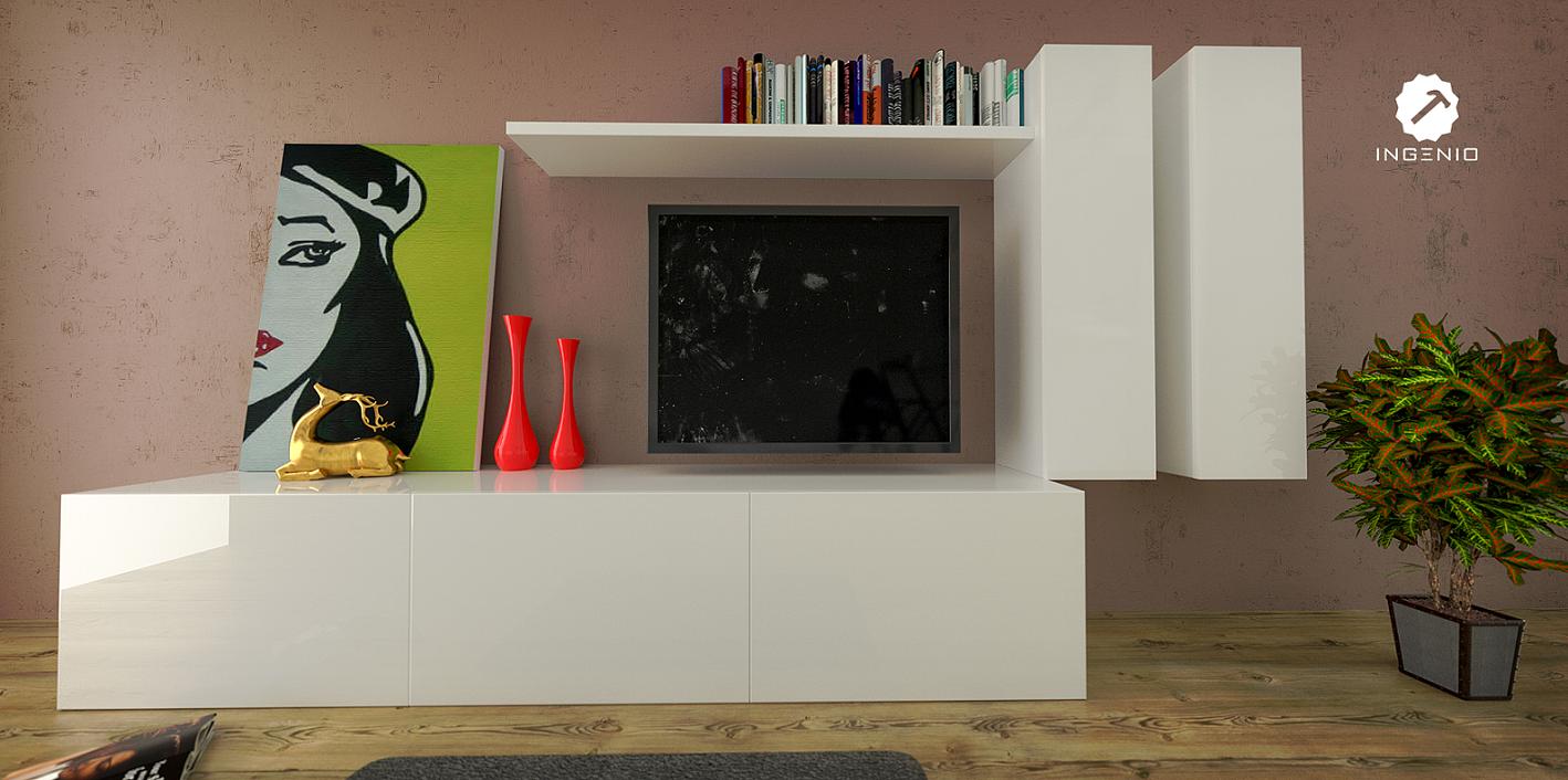 Mueble De Entretenimiento Blanco Poliuretano Dise Os Pinterest # Muebles Lolo Morales