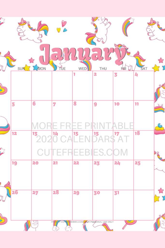 Unicorn Calendar 2020 Cute Unicorn 2019 2020 Calendar   Free Printable | Cute Freebies
